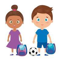 simpatici bambini piccoli con borsa da scuola e giocattoli