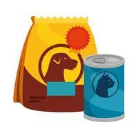 sacchetto di cibo per cani e cibo per gatti in lattina vettore