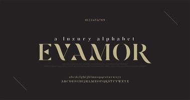 set di caratteri e numeri di lettere dell'alfabeto di lusso elegante vettore