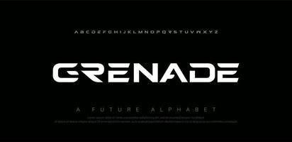 set di caratteri alfabeto moderno digitale sportivo vettore