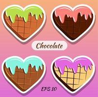 cioccolatini a forma di cuore. vettore