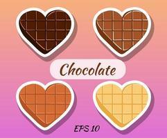 cioccolatini a forma di cuore. cioccolato fondente, bianco, latte. vettore