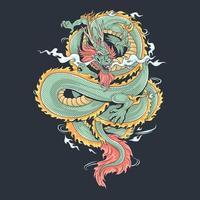 un drago che sembra feroce e fresco, vettore