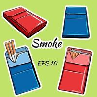 pacchetti di sigarette in stile cartone animato vettore