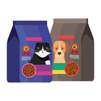 sacchetti di cibo per cane e gatto vettore