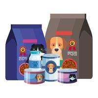 set di cibo per cani e gatti vettore