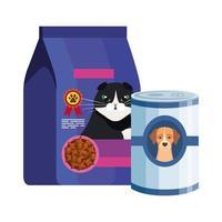 cibo per gatti in borsa e lattina per cibo per cani vettore