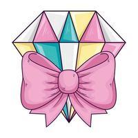carino gioielli con diamanti con fiocco nastro isolato icona vettore