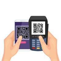 mano utilizzando smartphone e dataphone con codice di scansione qr vettore