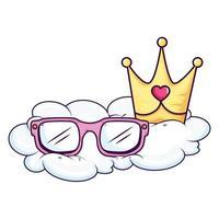 graziosi occhiali da vista e corona nel cloud