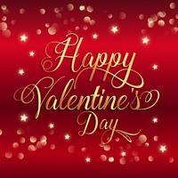 Fondo di San Valentino con stelle d'oro e testo decorativo