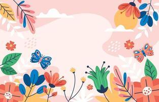 sfondo di primavera con bella vista floreale vettore