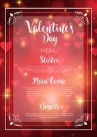 Disegno del menu di San Valentino