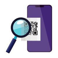 smartphone con codice di scansione qr e lente di ingrandimento