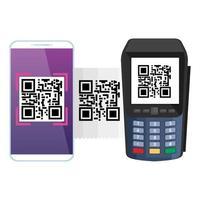 smartphone e dataphone con codice di scansione qr vettore