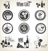raccolta di etichette e distintivi di vino vettore