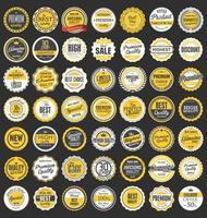 collezione di badge ed etichette vintage retrò