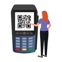 imprenditrice e dataphone con codice di scansione qr vettore