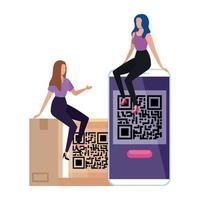 codice qr in scatola e smartphone con donne d'affari
