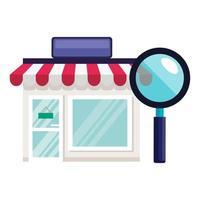 negozio isolato o negozio con disegno vettoriale lupe