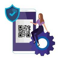 scansione del codice qr in smartphone con imprenditrice e icone