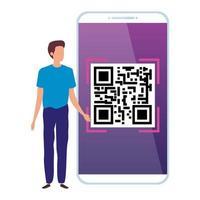 uomo d'affari e dispositivo smartphone con codice di scansione qr vettore