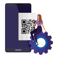 scansione del codice qr in smartphone con imprenditrice e attrezzi