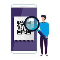 eseguire la scansione del codice qr in smartphone con uomo d'affari e lente di ingrandimento