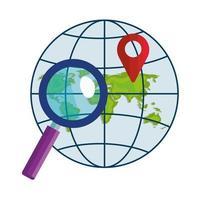 lupe di marchio gps isolato e disegno vettoriale sfera globale