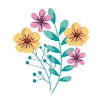 simpatici fiori con rami e foglie