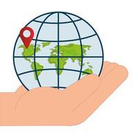 marchio GPS isolato e sfera globale sul disegno vettoriale mano
