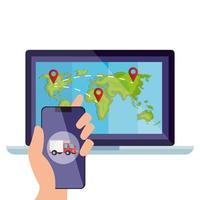 smartphone e mappa del mondo all'interno del disegno vettoriale del laptop