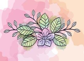 fiore carino con rami e foglie