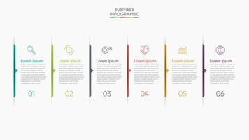 moderna presentazione infografica in 6 fasi vettore