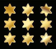 set di stelle dorate sfumate gialle vettore
