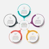modello di progettazione infografica cerchio con 5 opzioni. vettore