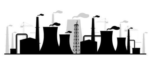 illustrazione di vettore della siluetta nera della centrale elettrica