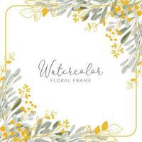 cornice quadrata bouquet foglia oro acquerello vettore