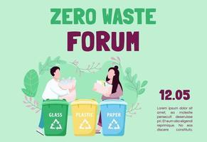 modello di vettore piatto banner forum zero rifiuti
