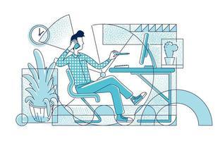 responsabile dell'ufficio all'illustrazione di vettore della siluetta piana del posto di lavoro