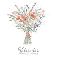 illustrazione del mazzo della mano del fiore del petalo dell'acquerello