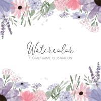 acquerello cornice floreale illustrazione con fiore petalo di ortensia vettore