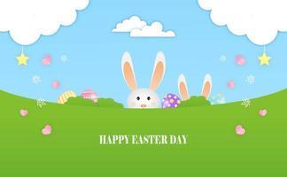 il coniglietto gioca a nascondere le uova di Pasqua nel prato vettore