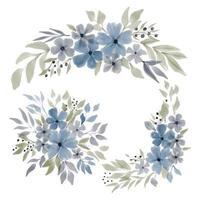 disposizione dei fiori del petalo blu dell'acquerello vettore
