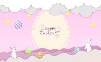 piccoli coniglietti che salutano per il giorno di Pasqua sulle nuvole. vettore di cartolina di buona Pasqua.