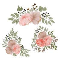 illustrazione di disposizione floreale della peonia dell'acquerello vettore