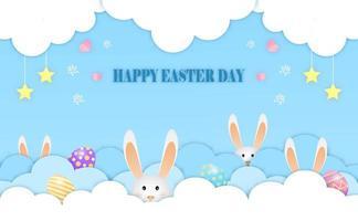 piccoli coniglietti giocano a nascondere le uova di Pasqua tra le nuvole cartolina di buona Pasqua del vettore. vettore