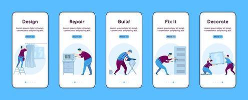 modello di vettore piatto dello schermo dell'app mobile onboarding di riparazione a casa