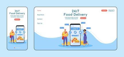 Modello di vettore di colore piatto della pagina di destinazione adattiva per la consegna di cibo in 24 ore