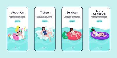 servizi per feste in piscina onboarding modello di vettore piatto schermo mobile app